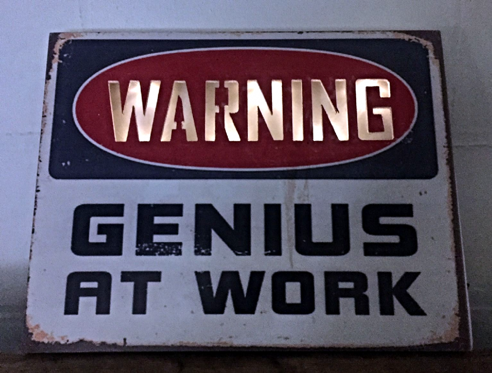 WARNING - Genius At Work ~ Large Light Up Rusty Effect Funny Sign